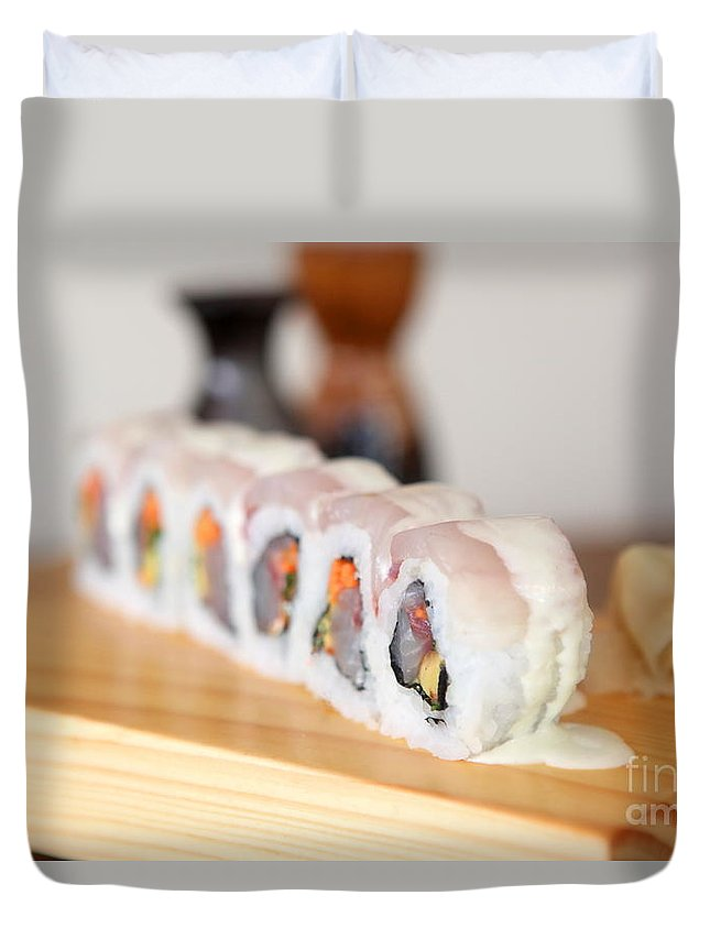 Inside Out Duvet Cover featuring the photograph Inside Out Tuna Sushi by Oren Shalev