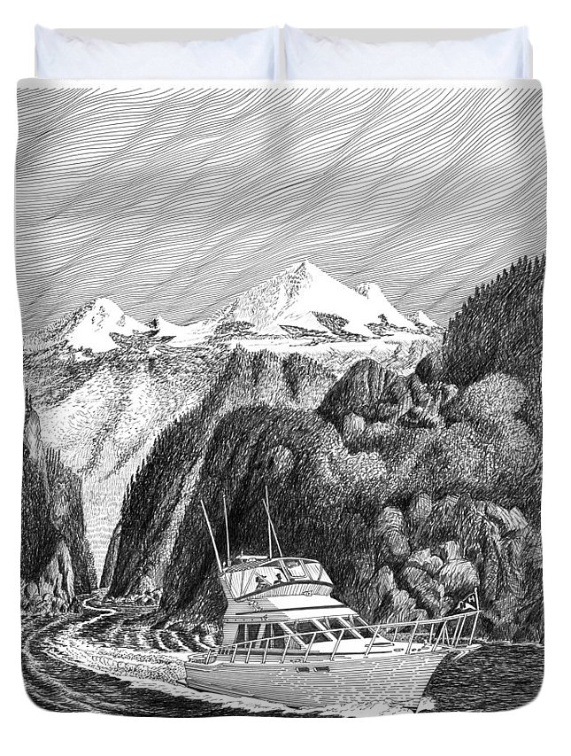 Yachting Duvet Cover featuring the drawing Cruising The Inside Passage by Jack Pumphrey
