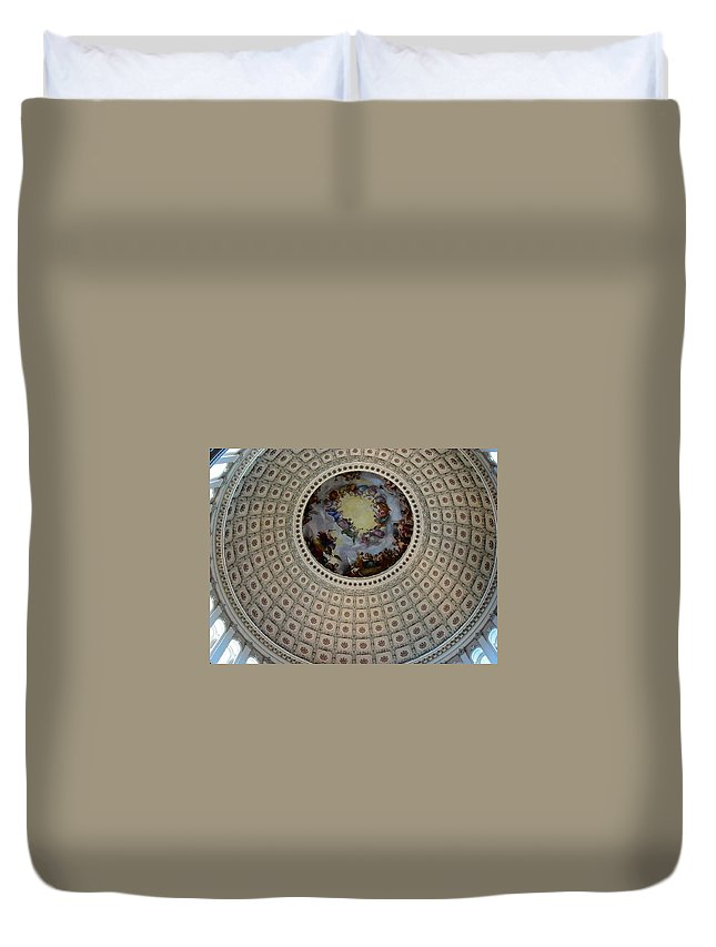 Capitol Duvet Cover featuring the photograph Inside The Capitol Dome by Lois Ivancin Tavaf