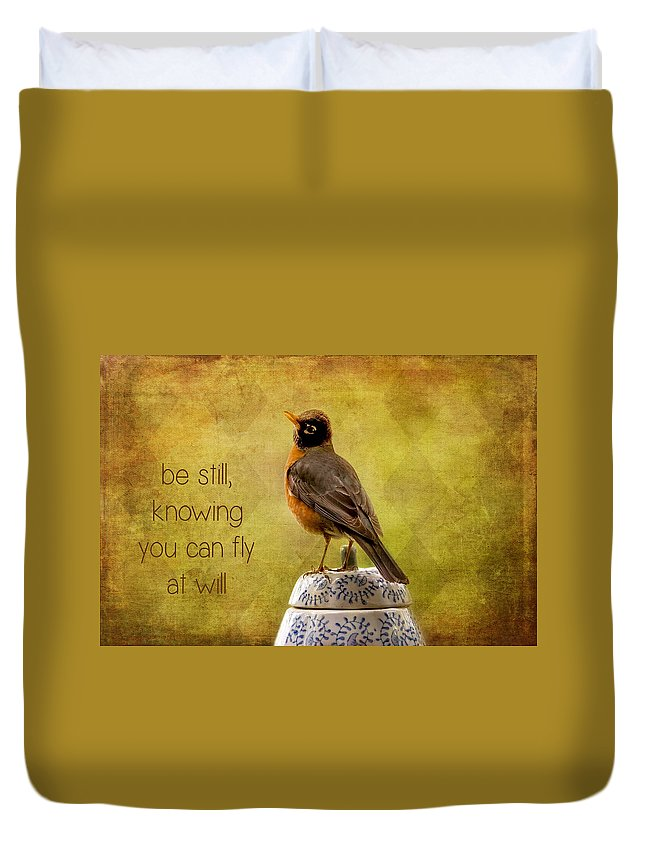 Robins Duvet Cover featuring the photograph Inspirational Robin by Peggy Collins