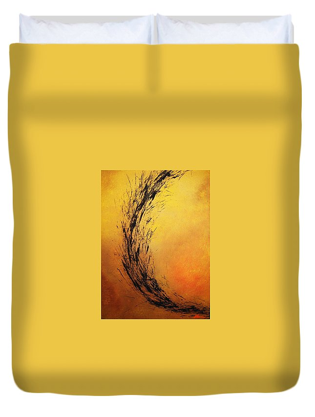 Abstract Duvet Cover featuring the painting Instinct by Todd Hoover