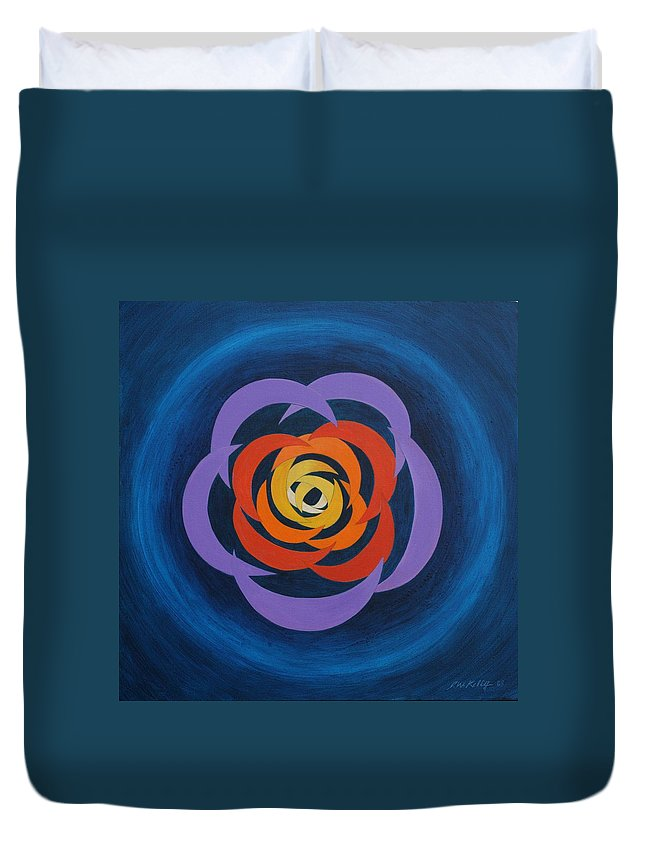 Abstract Cresent Shapes Overlapping Together To Form A Designed Rosette Image Duvet Cover featuring the painting Integrated Cresents by J W Kelly