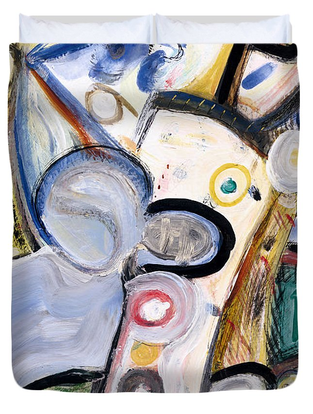 Abstract Art Duvet Cover featuring the painting Intellect by Stephen Lucas