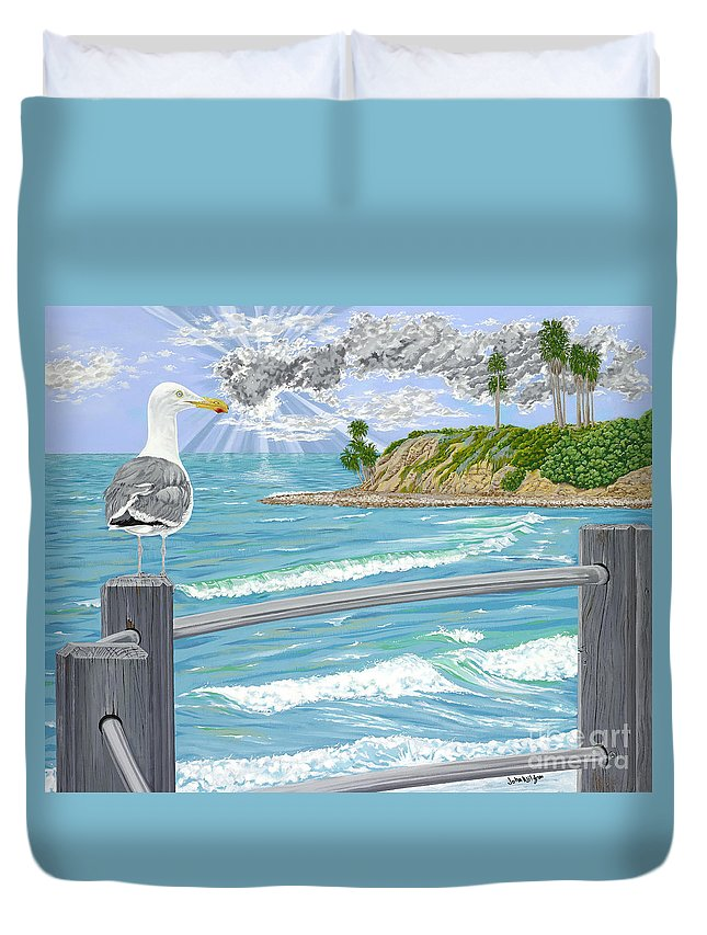 Sea Gull Duvet Cover featuring the painting Intensity by John Wilson