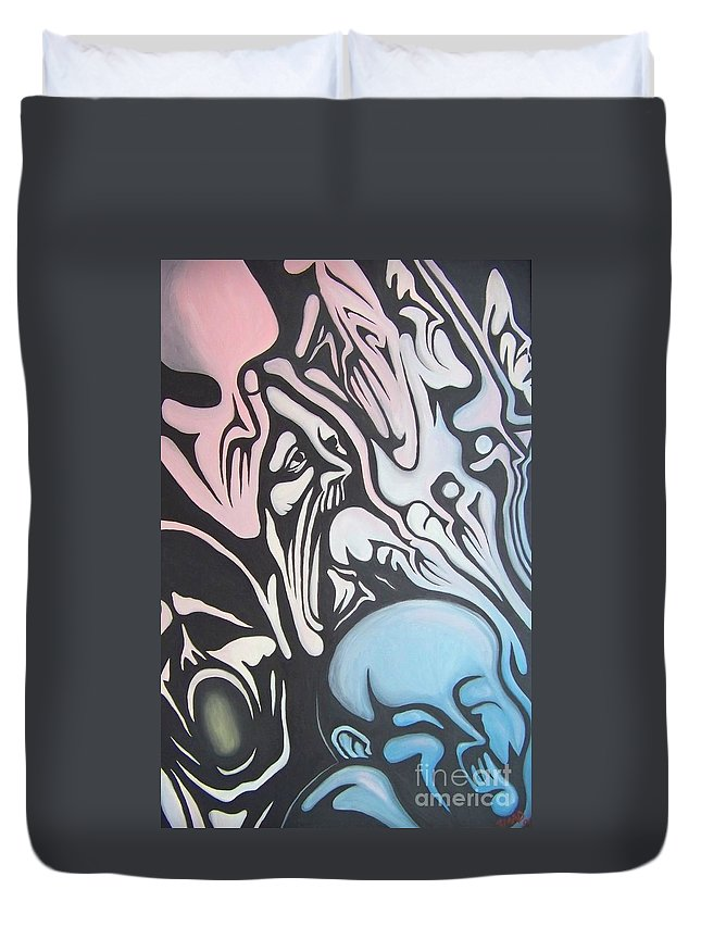 Tmad Duvet Cover featuring the painting Intensity by Michael TMAD Finney