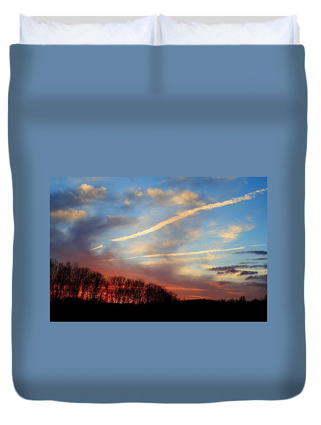 Sunset Duvet Cover featuring the photograph Interesting Sunset by Kathryn Meyer
