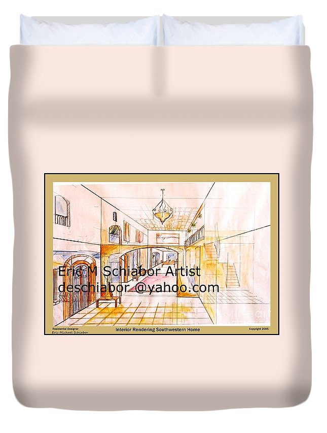 Interior Duvet Cover featuring the painting Interior Perspective by Eric Schiabor