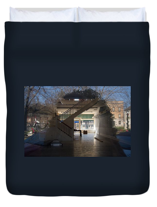 Reflection; Window; Empty; Building; Empty Building Duvet Cover featuring the photograph Interior Reflection by Melinda Fawver