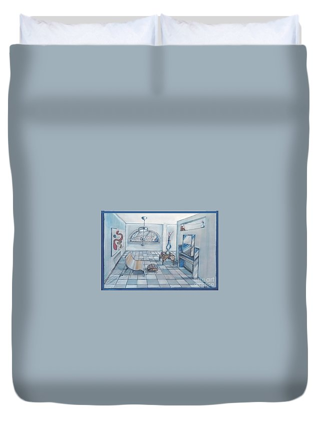 Interior Rendering Duvet Cover featuring the drawing Interior Rendering 2 by Eric Schiabor