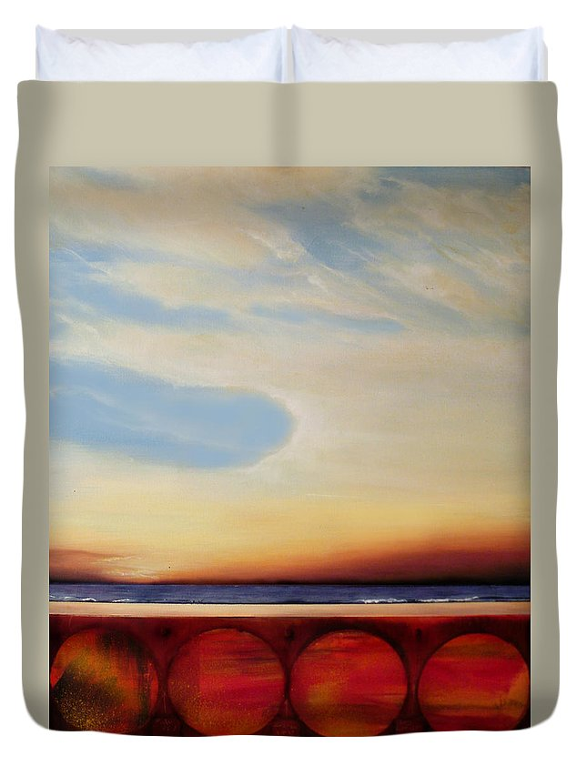 Surrealism Duvet Cover featuring the painting Internal Fires by Albert Puskaric