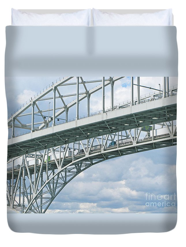 Bridge Duvet Cover featuring the photograph International Crossing by Ann Horn