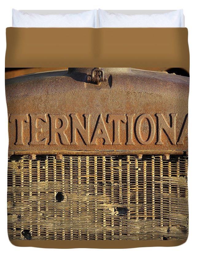Transportation Art Duvet Cover featuring the photograph International Truck Emblem by Mike McGlothlen