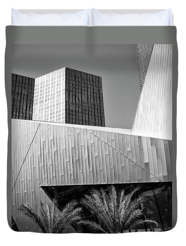 Vegas Duvet Cover featuring the photograph Intersection 2 Bw Las Vegas by William Dey