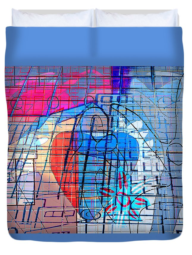 Interstate 10 Duvet Cover featuring the digital art Interstate 10- Exit 255- Miracle Mile Overpass- Rectangle Remix by Arthur BRADford Klemmer