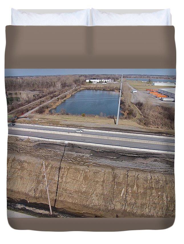 Interstate 75 Construction Ohio Aerial Duvet Cover featuring the photograph Interstate 75 Construction Ohio Aerial by Dan Sproul