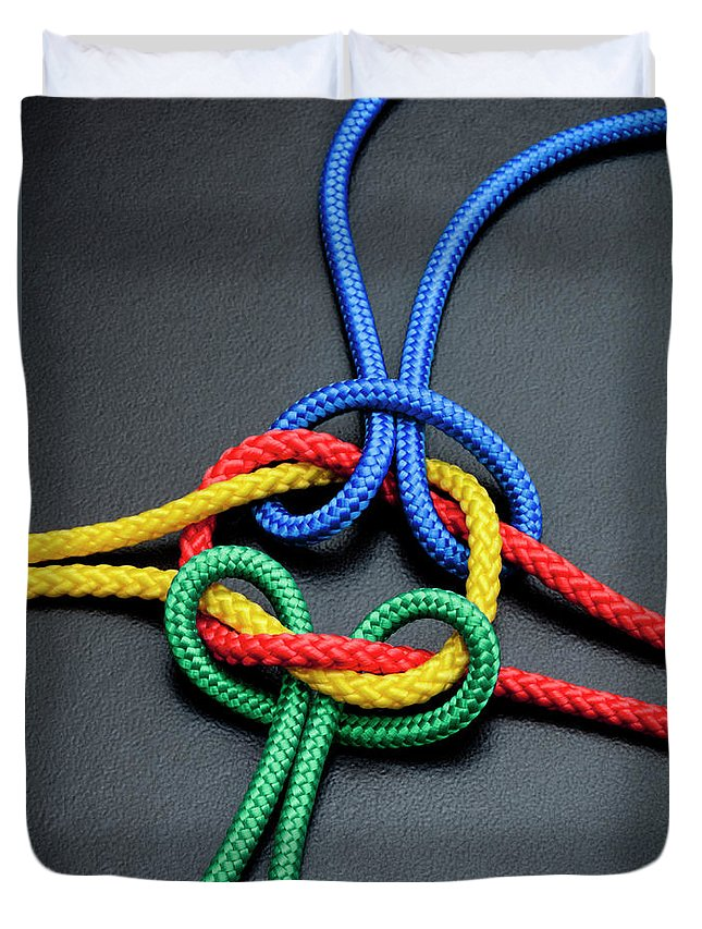 Teamwork Duvet Cover featuring the photograph Intertwined Multicolored Ropes by Jorg Greuel