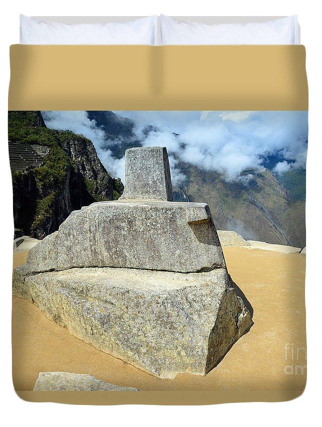 Inti Watana Duvet Cover featuring the photograph Inti Watana Stone Calendar At Machu Picchu by Catherine Sherman
