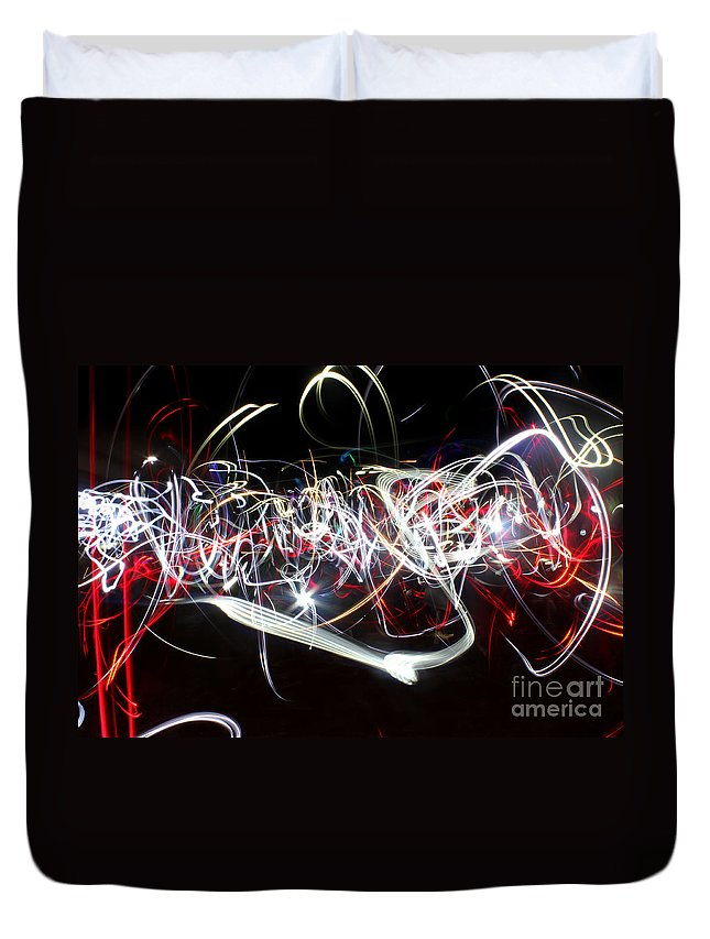 Light Duvet Cover featuring the photograph Into Chaos One Last Time...light Painting by Adam Long