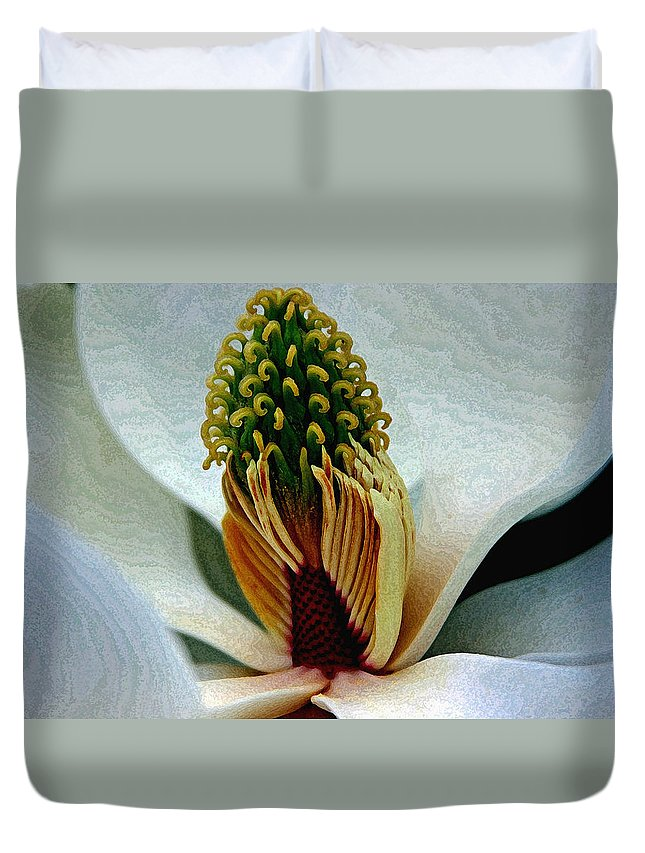 Magnolia; Flower; Blossoms; Blooms; Lancaster Sc; South Carolina Duvet Cover featuring the photograph Into The Heart Of The Magnolia Drybrush by Andy Lawless
