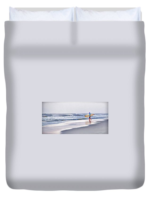 Surfer Ocean Water Beach Duvet Cover featuring the photograph Into The Surf by Alice Gipson