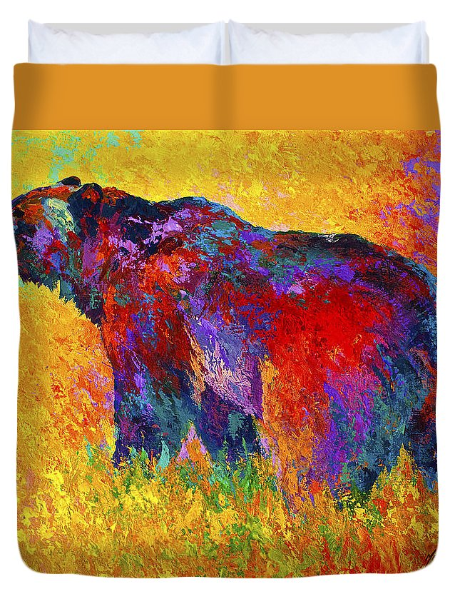 Bear Duvet Cover featuring the painting Into The Wind by Marion Rose