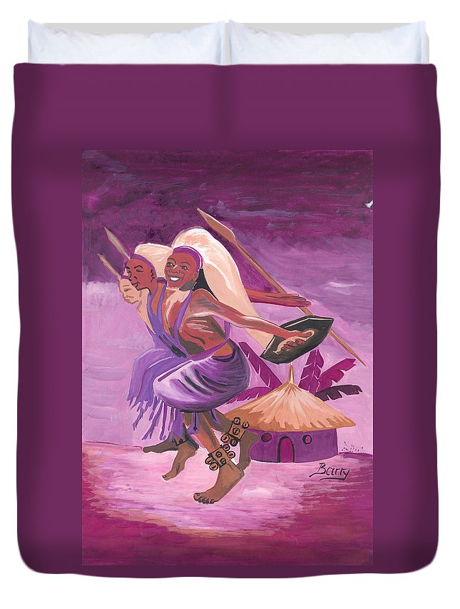Barry Art Duvet Cover featuring the painting Intore Dance From Rwanda by Emmanuel Baliyanga