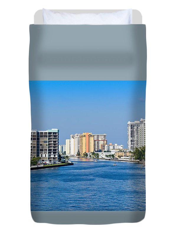 Hollywood Duvet Cover featuring the photograph Intracoastal Waterway In Hollywood Florida by Les Palenik
