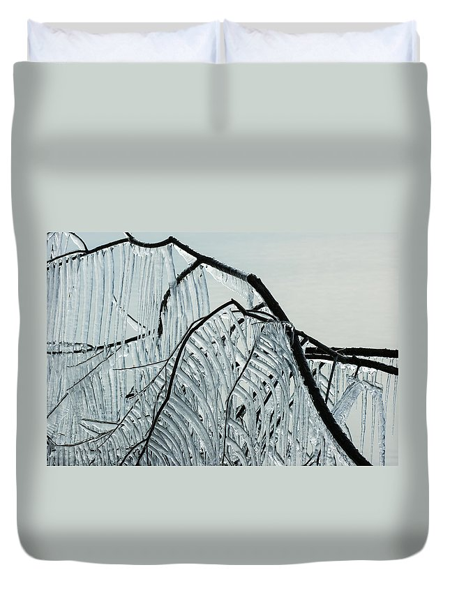 Intricate Ice Curtains Duvet Cover featuring the photograph Intricate Ice Curtains by Georgia Mizuleva