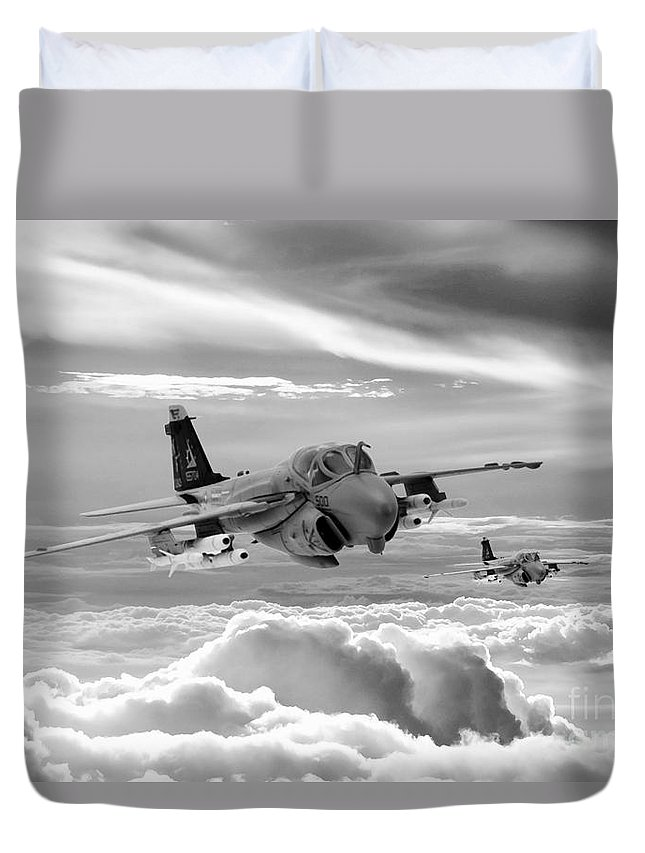 A6 Intruder Duvet Cover featuring the digital art Intruder by J Biggadike