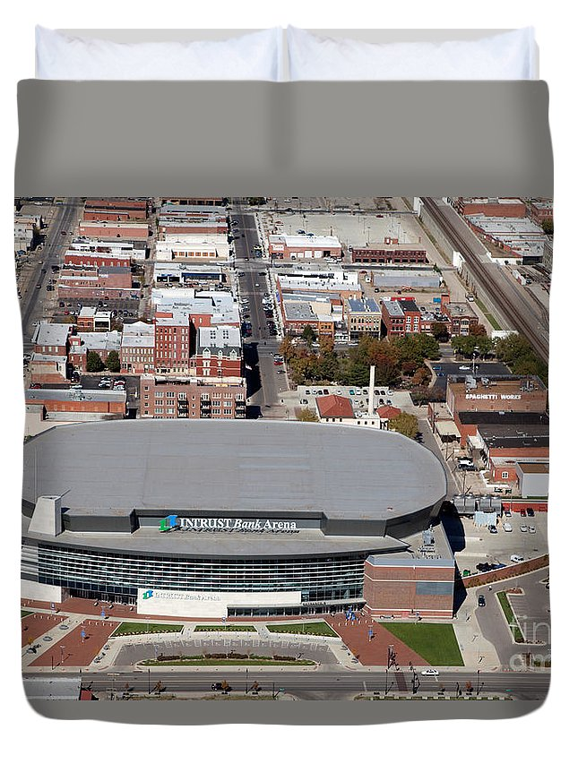 Aerial Duvet Cover featuring the photograph Intrust Bank Arena And Old Town Wichita by Bill Cobb