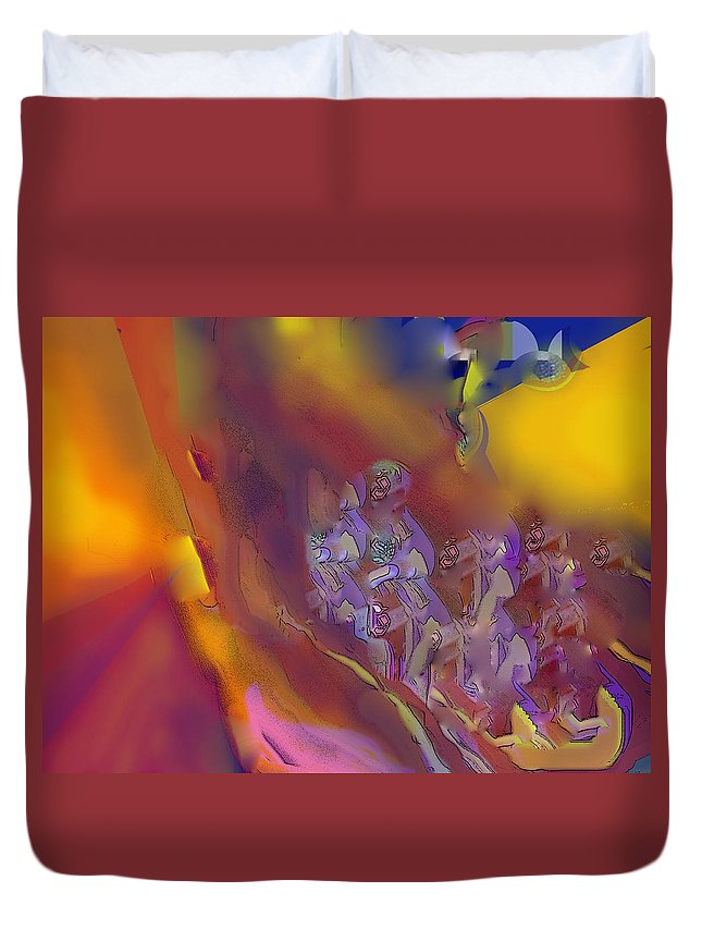 Abstract Duvet Cover featuring the digital art Invasion by Ian MacDonald