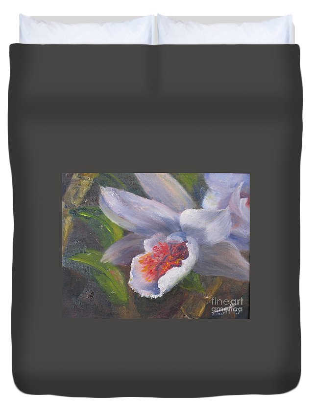 White Flower Duvet Cover featuring the painting Inviting- Oil by Mohamed Hirji