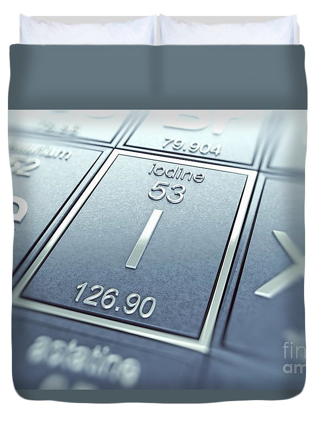 Atomic Number Duvet Cover featuring the photograph Iodine Chemical Element by Science Picture Co