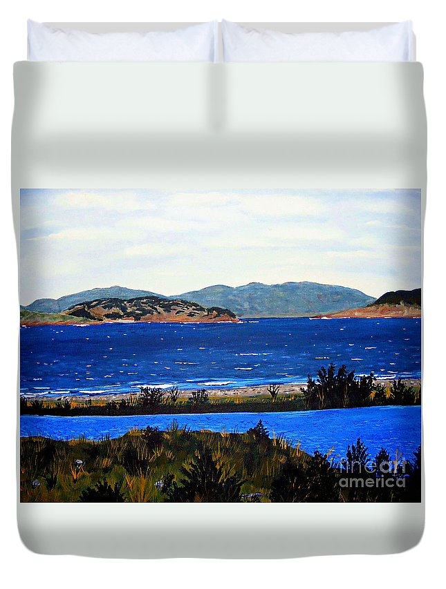 Islands Duvet Cover featuring the painting Iona formerly Rams Islands by Barbara Griffin