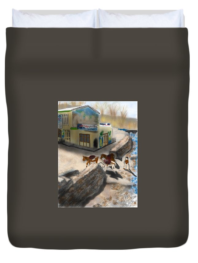 Iran Duvet Cover featuring the painting Iran Eatery In Kandovan by Lois Ivancin Tavaf