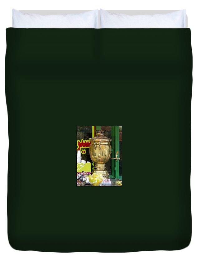Lois Tavaf Duvet Cover featuring the photograph Iran Samovar by Lois Ivancin Tavaf