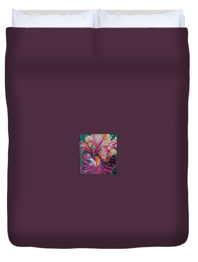 Impressionism Duvet Cover featuring the painting Iris - Bold Impressionist Painting by Quin Sweetman