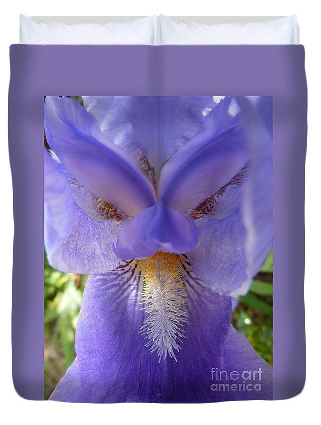 Iris Duvet Cover featuring the photograph Iris Face by Rain Shine