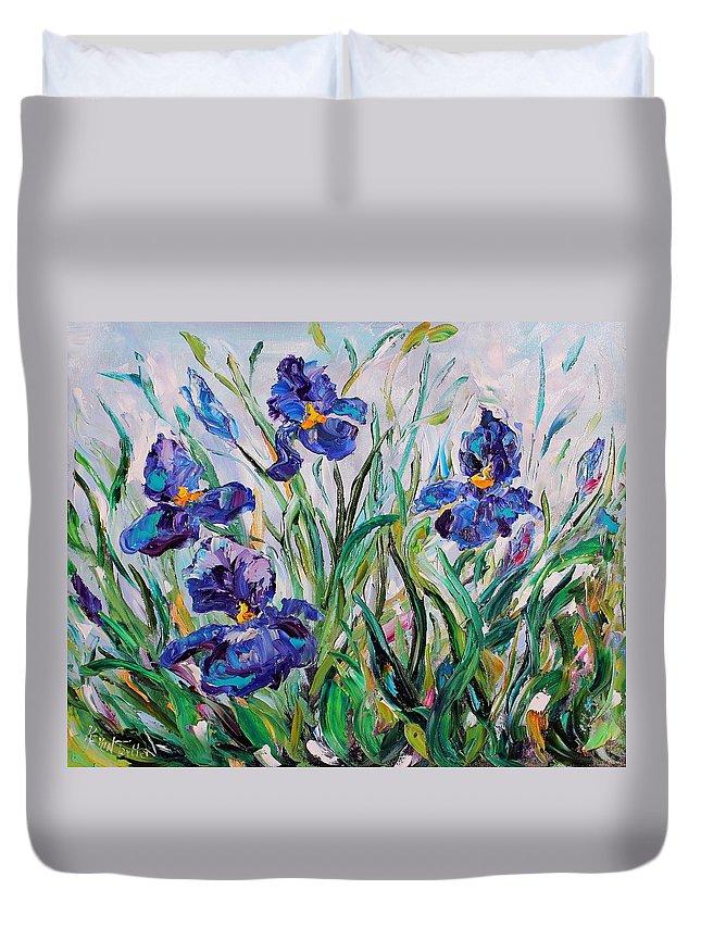 Iris Duvet Cover featuring the painting Iris Garden by Karen Tarlton