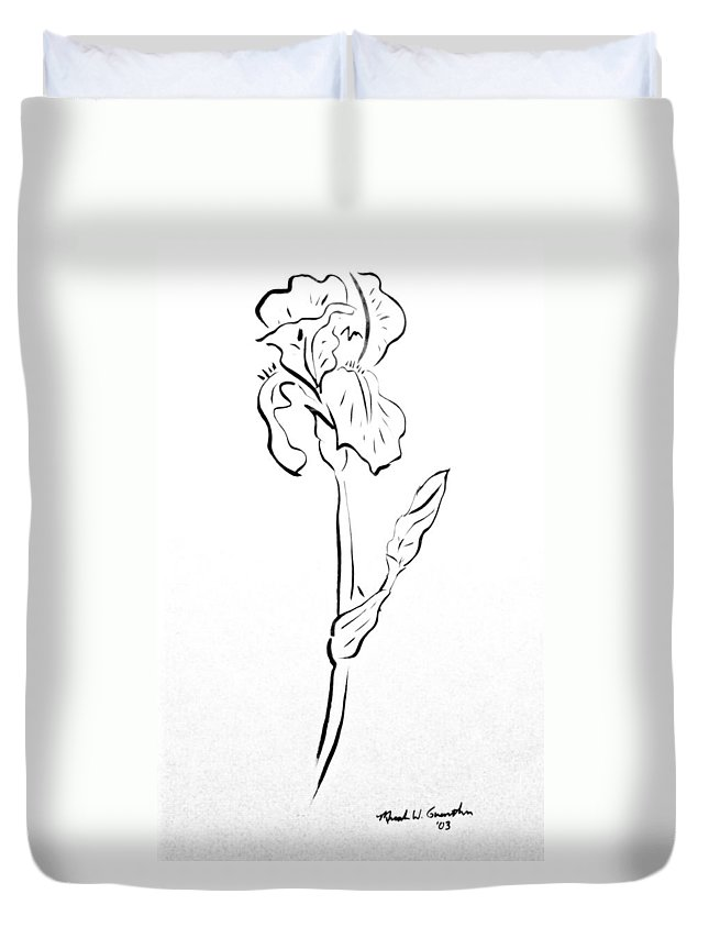 Abstract Duvet Cover featuring the drawing Iris II by Micah Guenther