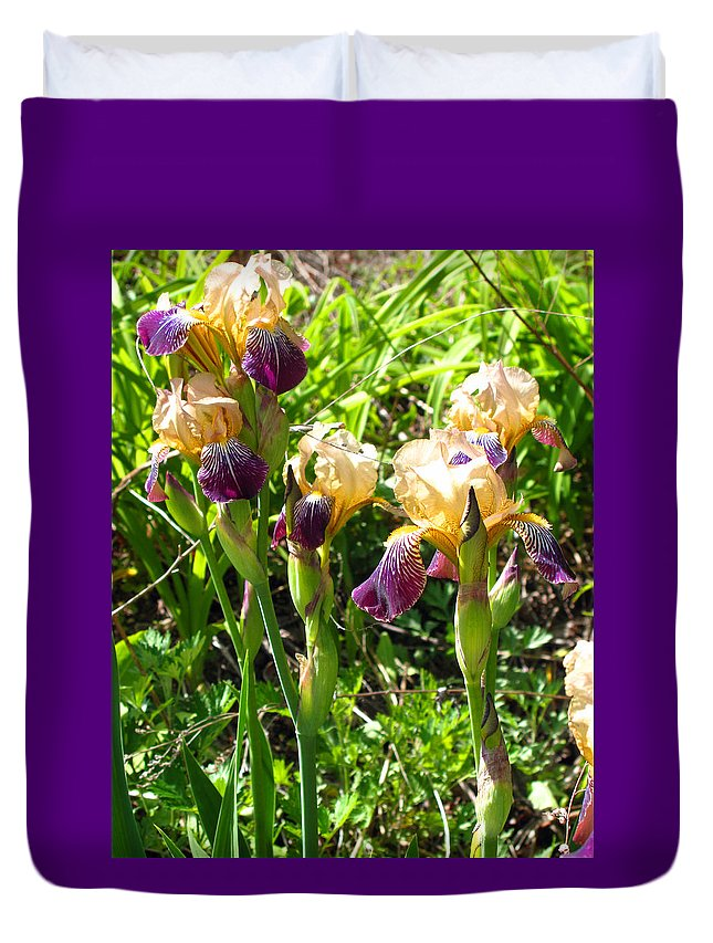 Iris Duvet Cover featuring the photograph Iris In The Wild by Barbara McDevitt