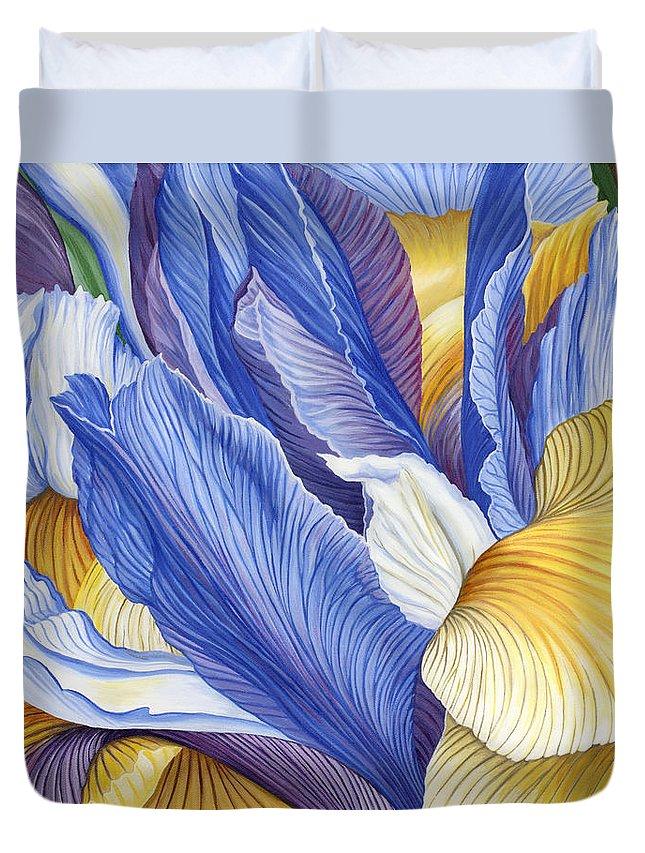 Iris Duvet Cover featuring the painting Iris by Jane Girardot