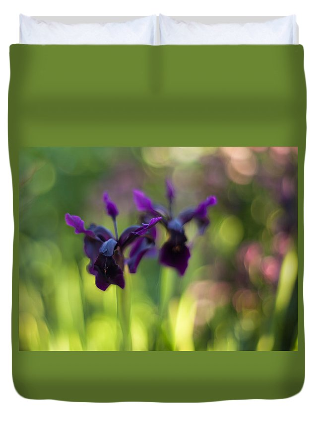Flower Duvet Cover featuring the photograph Irises Depth by Mike Reid