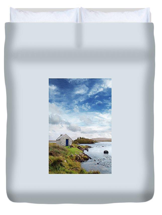 Water's Edge Duvet Cover featuring the photograph Irish Landscape In Connemara by Narvikk