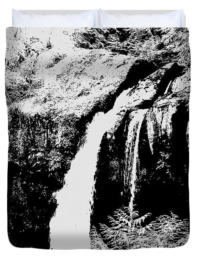 Grey Duvet Cover featuring the photograph Iron Creek Falls Bw by Rich Collins