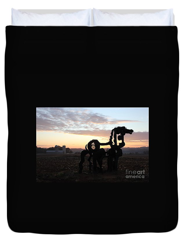 The Iron Horse Duvet Cover featuring the photograph Iron Horse Keeping Watch by Reid Callaway