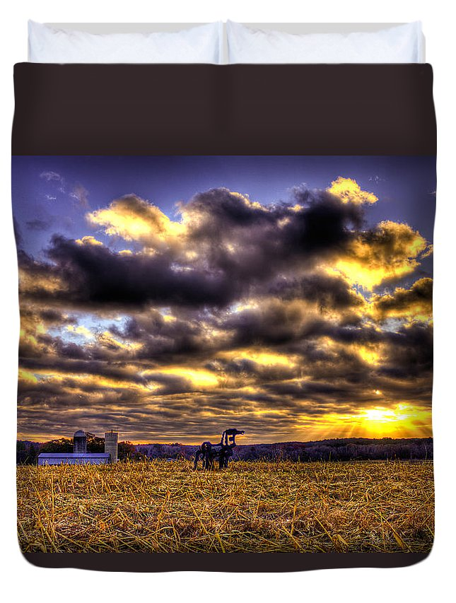 The Iron Horse Duvet Cover featuring the photograph Iron Horse Still Strong by Reid Callaway