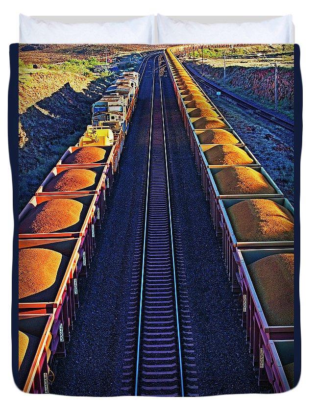 Rail Freight Duvet Cover featuring the photograph Iron Ore Train, Karratha. Western by John W Banagan