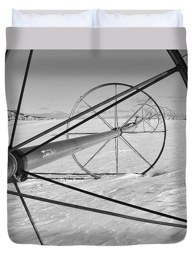 Farm Prints Duvet Cover featuring the photograph Irrigation Pipe In Winter by Theresa Tahara