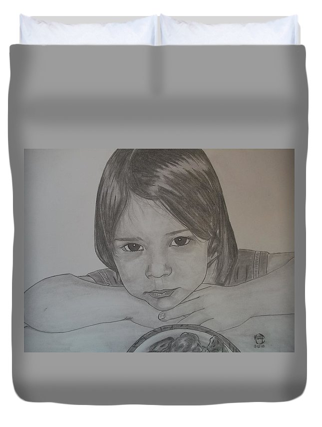 Justin Moore Duvet Cover featuring the drawing Isabella by Justin Moore